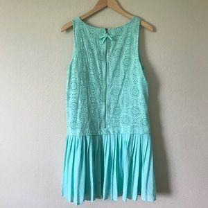 LOFT Dresses - LOFT Eyelet Drop Waist Dress Aqua